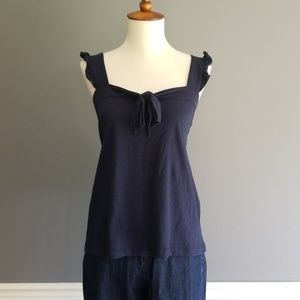 J Crew navy tank with bow